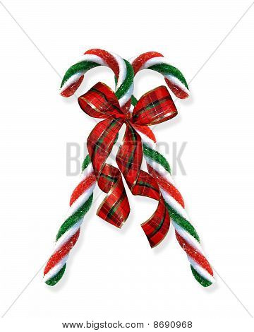 Christmas candy canes with plaid ribbon