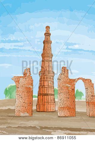 Hand Drawn Qutub Minar, New Delhi, India - Vector Illustration