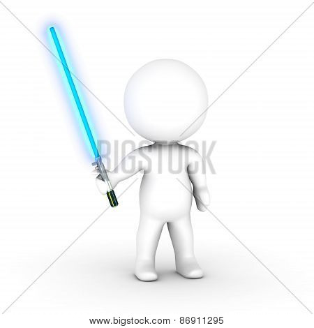 3D Character with Blue Light Saber