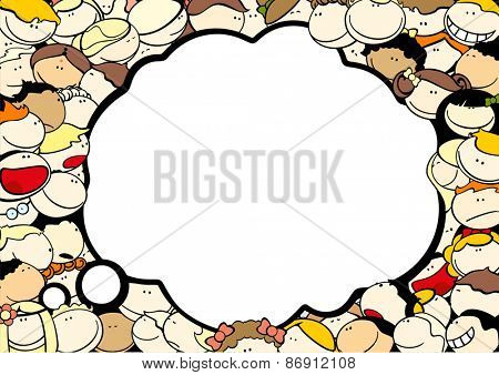 Background with cute kids and thought bubble window for your text