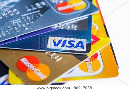 Samara, Russia- 3 February 2015: Closeup Studio Shot Of Credit Cards Issued By The Three Major Brand