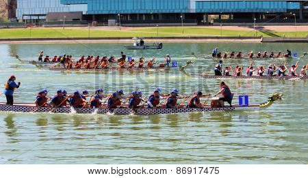 Teams Race To The Finish at The Dragon Boat F