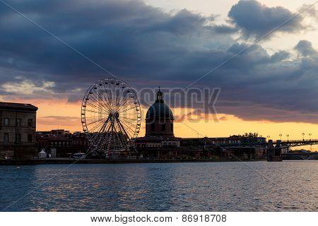 Toulouse Ferris Wheel At Twilight