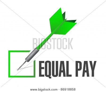 Equal Pay Check Dart Sign Illustration
