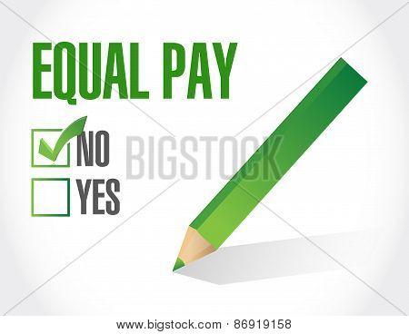 No Equal Pay Check Mark Sign Illustration