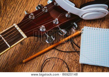 Headphone Guitar Notebook And Pencil