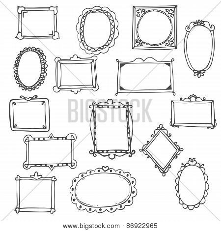 Set Of Hand Drawn Frames