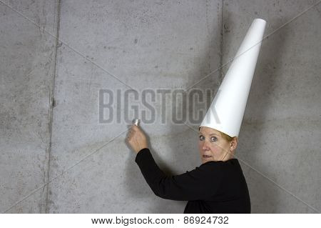 Dunce Cap, Woman, Writing On Wall