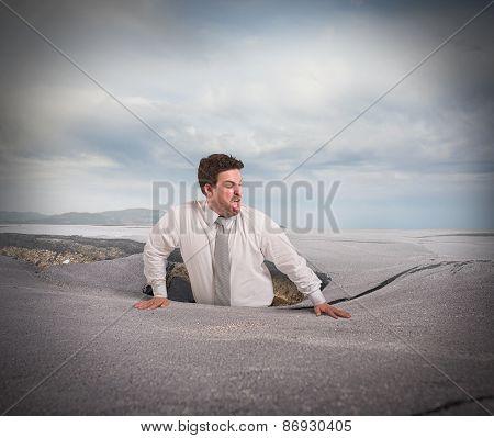 Swallowed by asphalt
