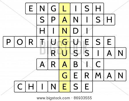 Crossword puzzle for the word Language and 8 of the most widely spoken languages of the world
