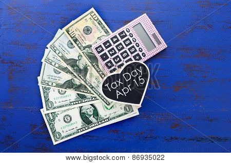 Usa Tax Day, April 15, Or Money, Savings And Finance Concept