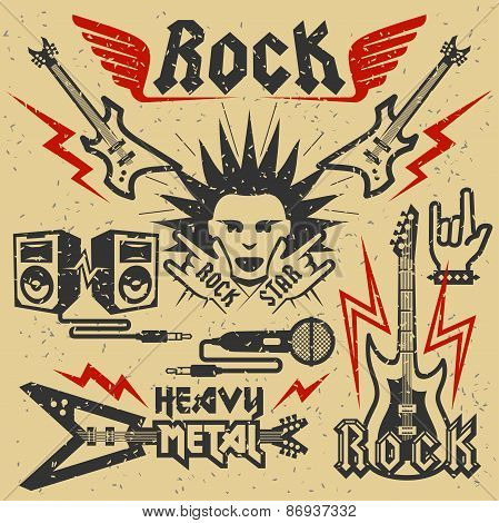 Rock Music And Heavy Metal Vector Illustration, Grunge Effect Is Removable
