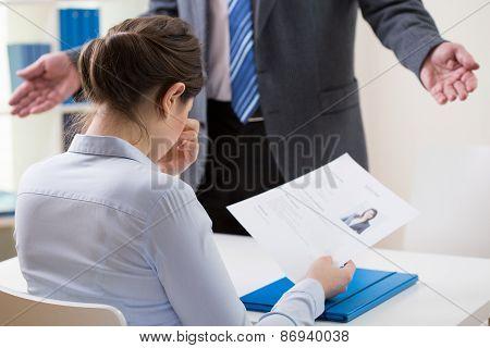 Ashamed Girl Applying For A Job