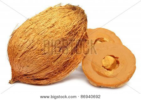 Coconut with Hard molasses or Patali gur of South East Asia poster