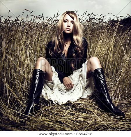Blond Girl In Wheat