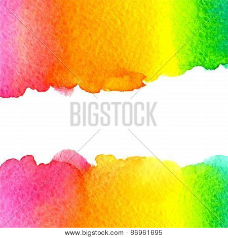 vector watercolor colorful rainbow background with copy space