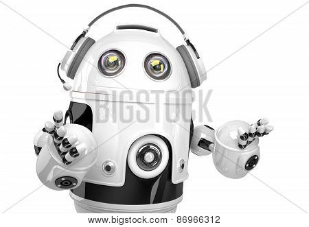 Support Robot With Headphone. Technology Concept. Isolated. Contains Clipping Path.