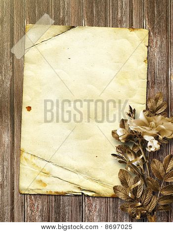 Elegant Framework For Photo On The Wood Background.