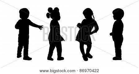 Children Standing Silhouettes Set 2