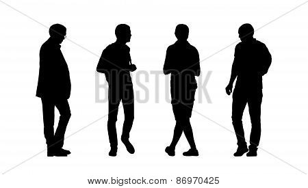 People Walking Outdoor Silhouettes Set 28