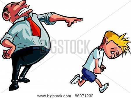 Cartoon father scolding unhappy boy