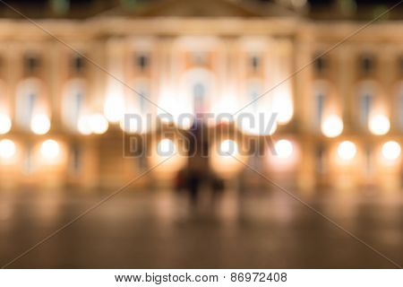 Defocused Image Of The Captiole De Toulouse At Night