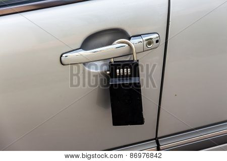 car door with padlock icon for theft protection, security, protection poster