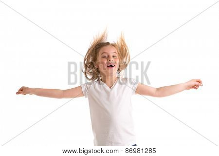 blond kid girl indented jumping high wind on hair at white background