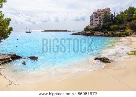 Majorca Playa de Illetas Balneario beach in Mallorca Bendinat Calvia at Balearic islands of spain