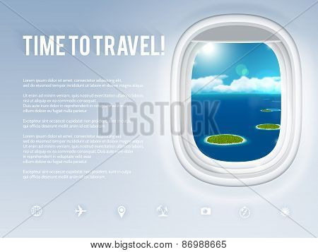 Design template with aircraft porthole, vector illustration.
