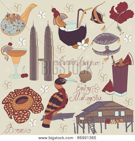Vector of traditional things in Malaysia: Malaysian food, traditional kite, Towers Kuala Lumpur, traditional house of island Borneo, nature of Borneo, with text. Malaysia background. poster
