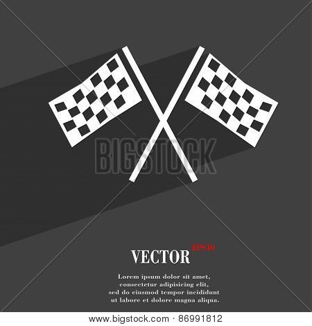 Race Flag Finish Icon Symbol Flat Modern Web Design With Long Shadow And Space For Your Text. Vector