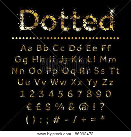 Gold dotted glittering metal alphabet. Vector gold font with additional currency, numbers and special symbols and signs.