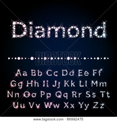 Vector Diamond letters. Shiny diamond alphabet font