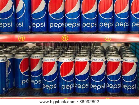 Pepsi Cola King Can On Store Shelf