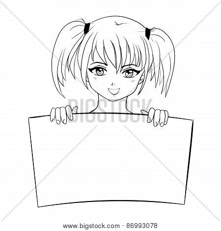 vector sketch illustration of girl holding text board