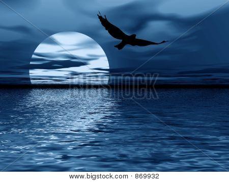 Blue Night. Moon And Bird