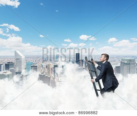 Businessman Is Climbing Ladder To Success. New York Background