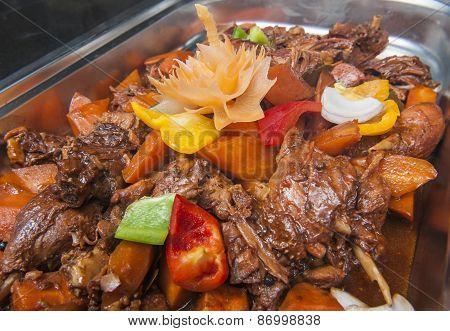 Duck Szechuan Chinese Meal At A Buffet