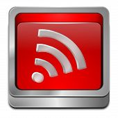 glossy red wireless wifi wlan button 3d poster