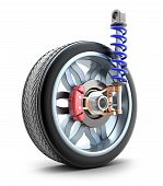 Wheel, shock absorber and brake pads, isolated poster