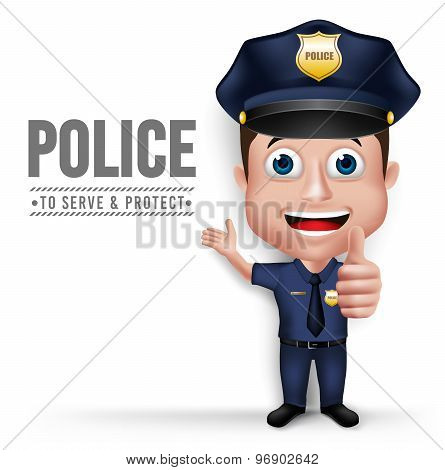 3D Realistic Friendly Police Man Character Policeman
