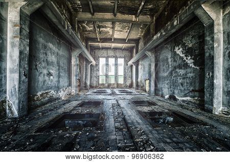 Old ruined factory building from the inside awesome background
