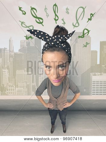 Funny girl with big head and drawn dollar marks over it