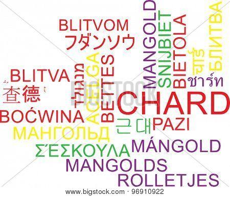 Background concept wordcloud multilanguage international many language illustration of chard