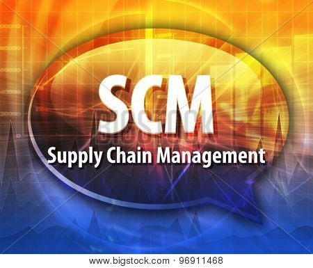 word speech bubble illustration of business acronym term SCM Supply Chain Management