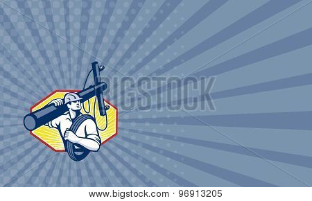 Business card showing illustration of a power lineman telephone repairman worker carrying utility electric post and cable done in retro style. poster