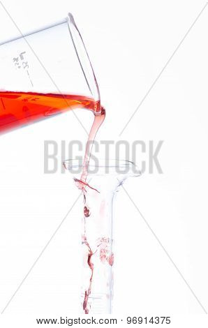 Test tubes and pipette drop Laboratory Glassware for chemical research poster