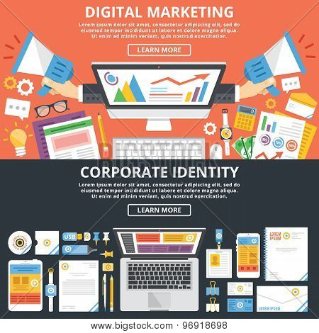 Digital marketing, corporate identity flat illustration concepts set