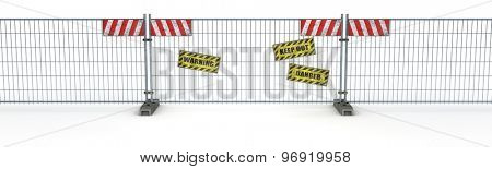 3d render of a construction barrier fence